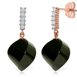 ALARRI 31.15 Carat 14K Solid Rose Gold Diamond Twisted Black Spinel Earrings