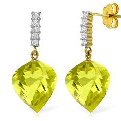 ALARRI 21.65 Carat 14K Solid Gold Strong Character Lemon Quartz Earrings