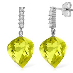 ALARRI 21.65 Carat 14K Solid White Gold Pulsing Joy Lemon Quartz Diamond Earrings