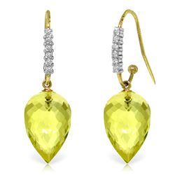 ALARRI 18.18 CTW 14K Solid Gold Finesse Lemon Quartz Diamond Earrings