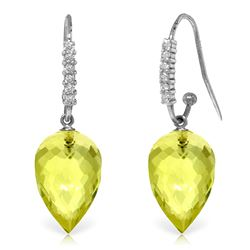 ALARRI 18.18 Carat 14K Solid White Gold Intimacy Always In Mode Lemon Quartz Earrings