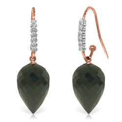 ALARRI 24.68 Carat 14K Solid Rose Gold Diamond Pointy Black Spinel Earrings