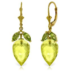 ALARRI 19 CTW 14K Solid Gold Earrings Peridot Briolette Lemon Quartz