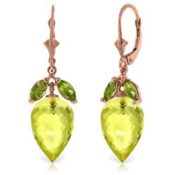 ALARRI 19 CTW 14K Solid Rose Gold Earrings Peridot Briolette Lemon Quartz