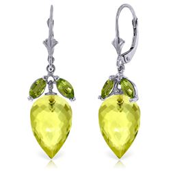 ALARRI 19 Carat 14K Solid White Gold Earrings Peridot Briolette Lemon Quartz