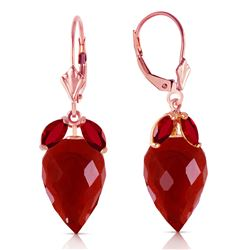 ALARRI 27.1 Carat 14K Solid Rose Gold Earrings Pointy Briolette Ruby
