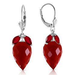 ALARRI 27.1 Carat 14K Solid White Gold Earrings Pointy Briolette Ruby