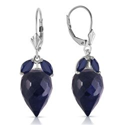 ALARRI 26.8 Carat 14K Solid White Gold Earrings Pointy Briolette Sapphire