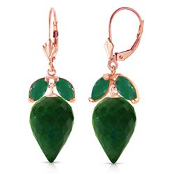ALARRI 26.8 CTW 14K Solid Rose Gold Earrings Pointy Briolette Emerald