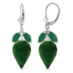 ALARRI 26.8 CTW 14K Solid White Gold Earrings Pointy Briolette Emerald