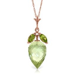 ALARRI 10 Carat 14K Solid Rose Gold Necklace Peridot Briolette Green Amethyst
