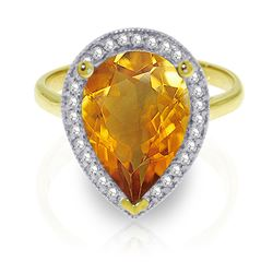 ALARRI 3.41 Carat 14K Solid Gold Finest Moments Citrine Diamond Ring