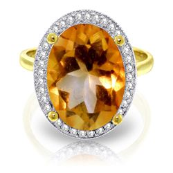 ALARRI 5.28 Carat 14K Solid Gold Heart And Soul Citrine Diamond Ring