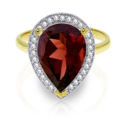 ALARRI 4.06 Carat 14K Solid Gold Shade Of Love Garnet Diamond Ring