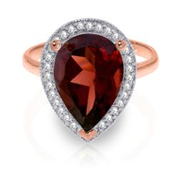 ALARRI 4.06 CTW 14K Solid Rose Gold Lana Garnet Diamond Ring