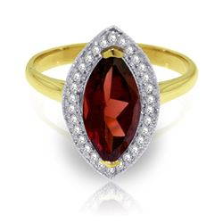 ALARRI 2.15 CTW 14K Solid Gold Ring Diamond Marquis Garnet