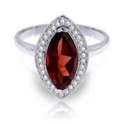 ALARRI 2.15 CTW 14K Solid White Gold Ring Diamond Marquis Garnet