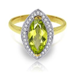 ALARRI 2.15 Carat 14K Solid Gold Ring Diamond Marquis Peridot