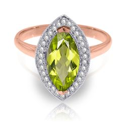 ALARRI 2.15 Carat 14K Solid Rose Gold Ring Diamond Marquis Peridot