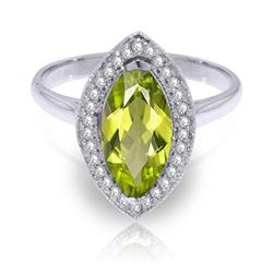 ALARRI 2.15 CTW 14K Solid White Gold Ring Diamond Marquis Peridot