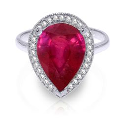 ALARRI 5.51 Carat 14K Solid White Gold w/ in Distance Ruby Diamond Ring