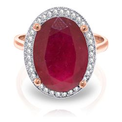 ALARRI 7.93 Carat 14K Solid Rose Gold Loren Ruby Diamond Ring