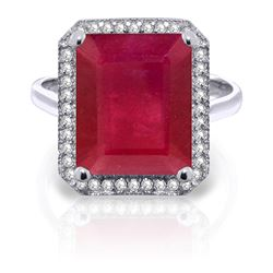 ALARRI 7.45 Carat 14K Solid White Gold Compliments Ruby Diamond Ring