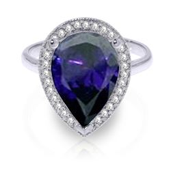 ALARRI 5.26 Carat 14K Solid White Gold Undanced Dance Sapphire Diamond Ring