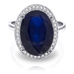 ALARRI 6.58 Carat 14K Solid White Gold Love Is Generous Sapphire Diamond Ring