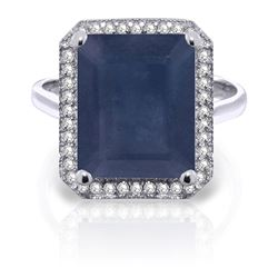 ALARRI 6.6 CTW 14K Solid White Gold Love Is Courageous Sapphire Diamond Ring