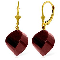 ALARRI 30.5 Carat 14K Solid Gold Leverback Earrings Twisted Briolette Ruby