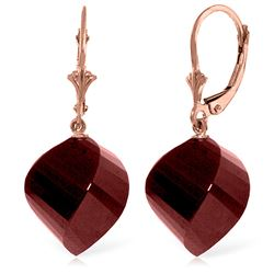 ALARRI 30.5 CTW 14K Solid Rose Gold Leverback Earrings Twisted Briolette Ruby