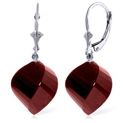 ALARRI 30.5 CTW 14K Solid White Gold Leverback Earrings Twisted Briolette Ruby