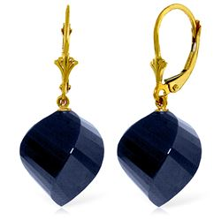 ALARRI 30.5 Carat 14K Solid Gold Leverback Earrings Twisted Briolette Sapphire
