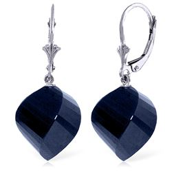 ALARRI 30.5 Carat 14K Solid White Gold Leverback Earrings Twisted Briolette Sapphire