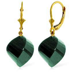 ALARRI 14K Solid Gold Leverback Earrings Twisted Briolette Emeralds
