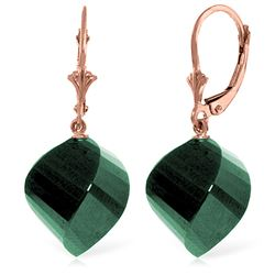 ALARRI 14K Solid Rose Gold Leverback Earrings Twisted Briolette Emeralds