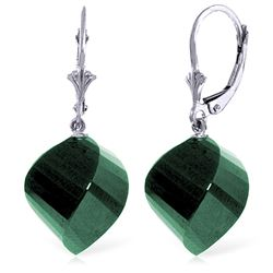 ALARRI 14K Solid White Gold Leverback Earrings Twisted Briolette Emeralds