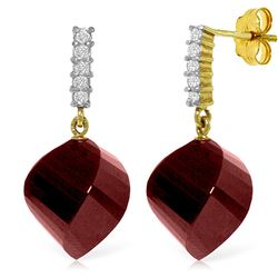 ALARRI 30.65 Carat 14K Solid Gold Earrings Diamond Ruby