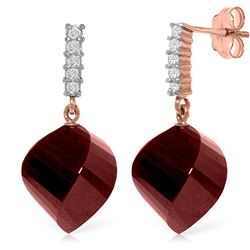 ALARRI 30.65 CTW 14K Solid Rose Gold Earrings Diamond Ruby
