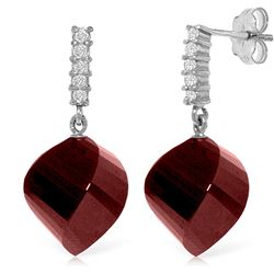 ALARRI 30.65 Carat 14K Solid White Gold Earrings Diamond Ruby