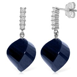 ALARRI 30.65 Carat 14K Solid White Gold Earrings Diamond Sapphire