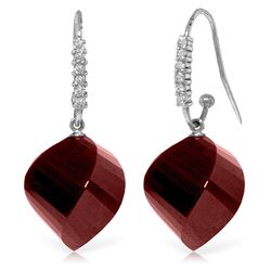 ALARRI 30.68 Carat 14K Solid White Gold Demonstrations Of Affection Ruby Diamond Earrings
