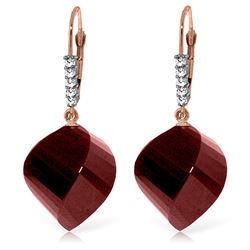 ALARRI 30.65 Carat 14K Solid Rose Gold Leverback Earrings Diamond Briolette Ruby