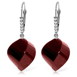 ALARRI 30.65 Carat 14K Solid White Gold Leverback Earrings Diamond Briolette Ruby