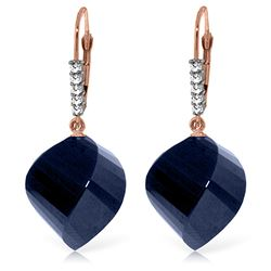 ALARRI 30.65 CTW 14K Solid Rose Gold Leverback Earrings Diamond Briolette Sapphire