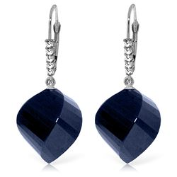 ALARRI 30.65 CTW 14K Solid White Gold Leverback Earrings Diamond Briolette Sapphire