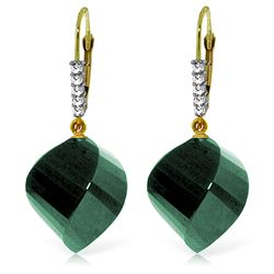 ALARRI 14K Solid Gold Leverback Earrings Diamonds & Briolette Emeralds