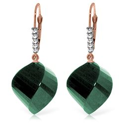 ALARRI 14K Solid Rose Gold Leverback Earrings Diamonds & Briolette Emeralds