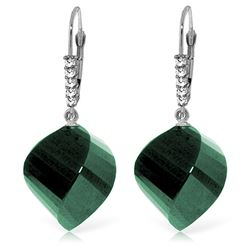 ALARRI 14K Solid White Gold Leverback Earrings Diamonds & Briolette Emeralds